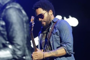 Lenny Kravitz performs on stage at the Hard Rock Rising Barcelona global music festival on Friday, July 24, 2015, at Platja del Forum in Barcelona, Spain. Hard Rock Rising Barcelona is Hard Rockís first global music festival activation in Spain. (Photo by Manuel Vidal/Invision for Hard Rock International/AP Images)