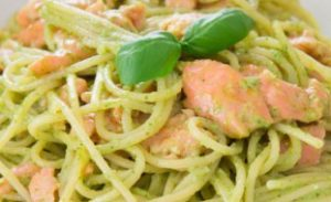 Spaghetti and smoked salmon tossed with a simple basil cream sauce.
